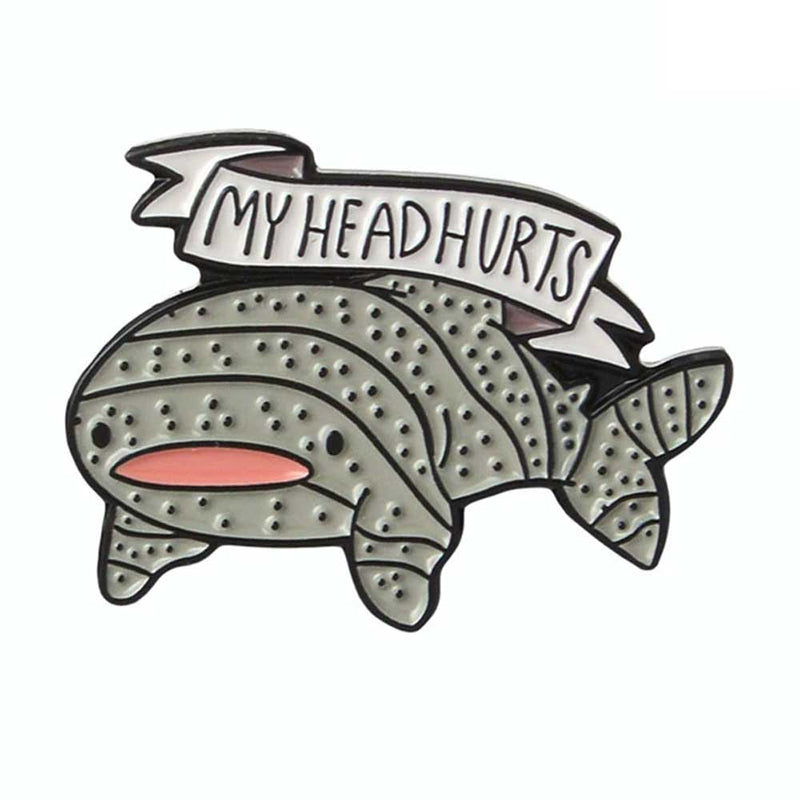 'My head hurts' Whale Shark Brooch Pin