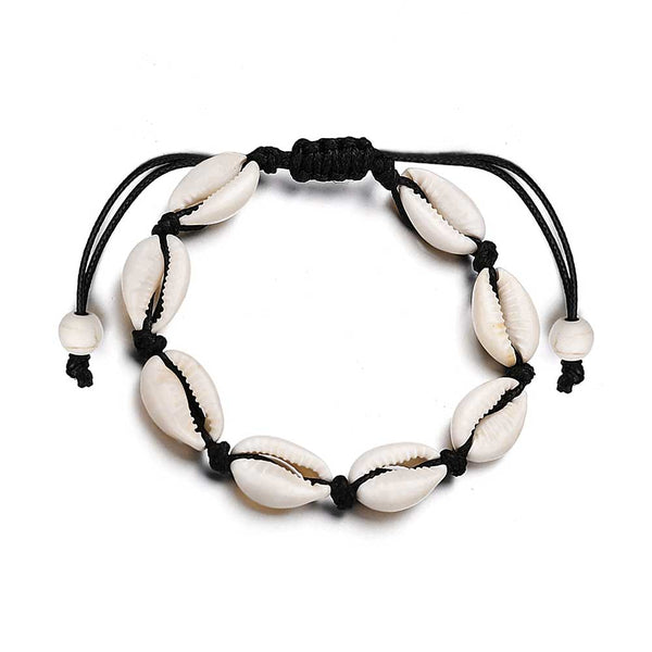 Cowrie Shell Anklet on Black Cord