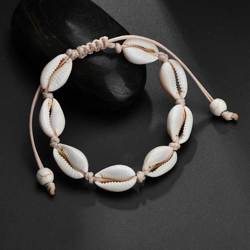 Cream Shell Anklet on Cord