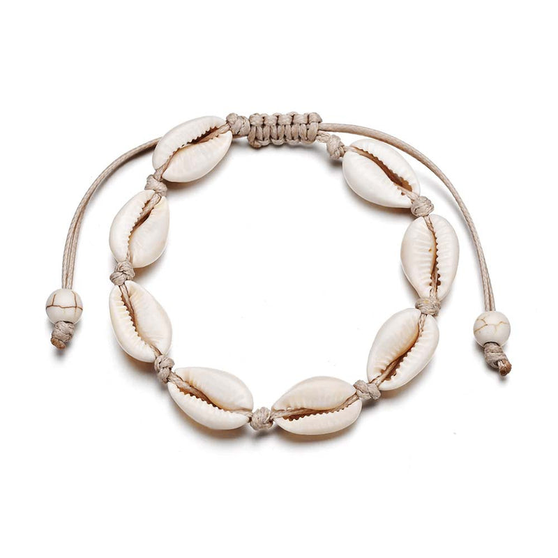 Cowrie Shell Anklet on Cream Cord