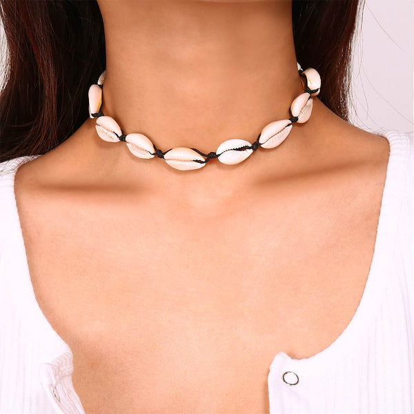 Cowrie Shell Chocker Necklace on woman