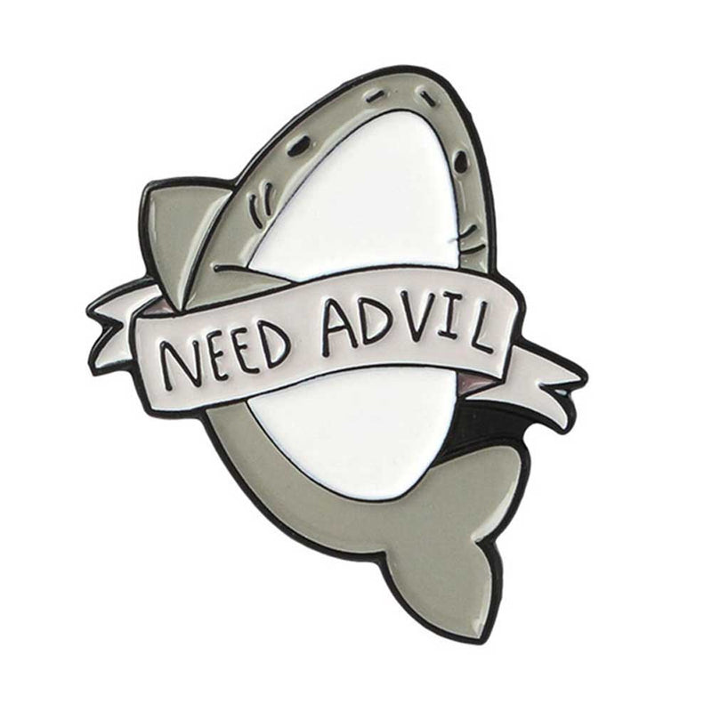 'Need Advil' Grey Shark Brooch