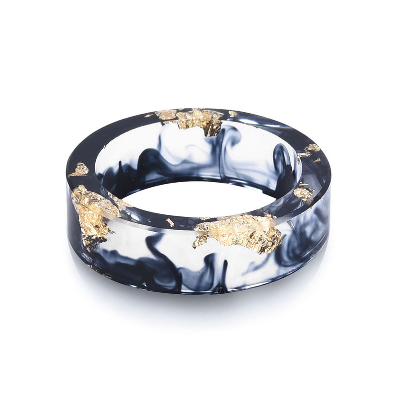 Squid Ink Resin Ring with Gold Foil
