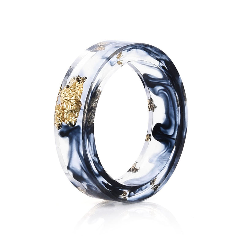 Side view of Resin Ring with Navy Blue and Gold