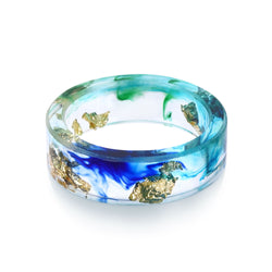 Ocean Blue Resin Ring with Gold Foil