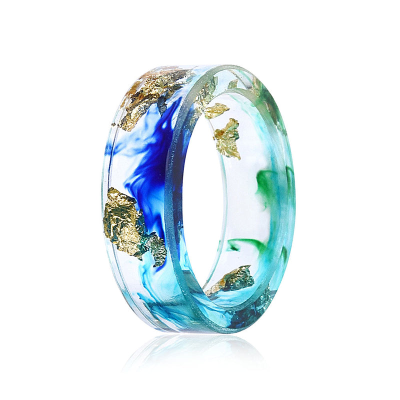 Side view of Ocean Resin Ring with Blue and Turquoise Swirls