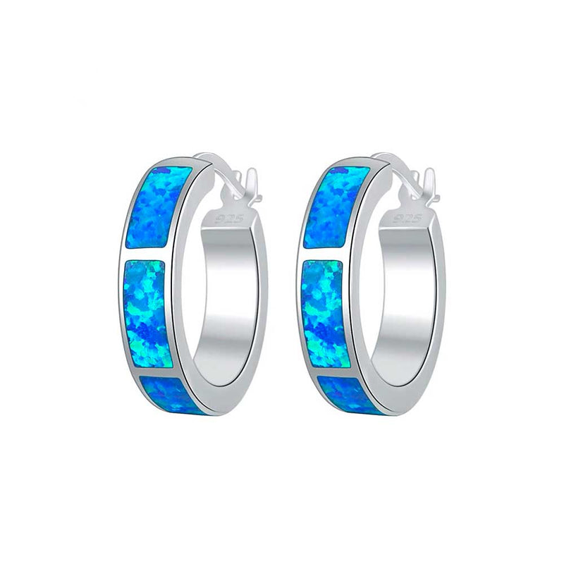 Blue Opal Hoop Earrings