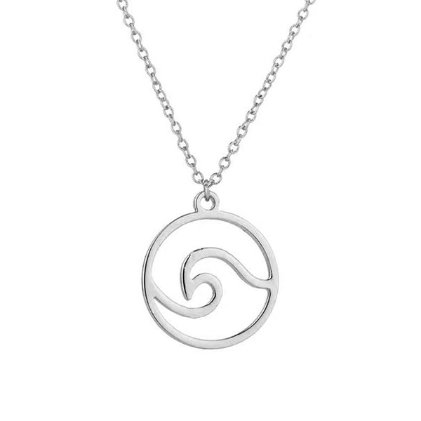 Ocean Wave Necklace in Silver