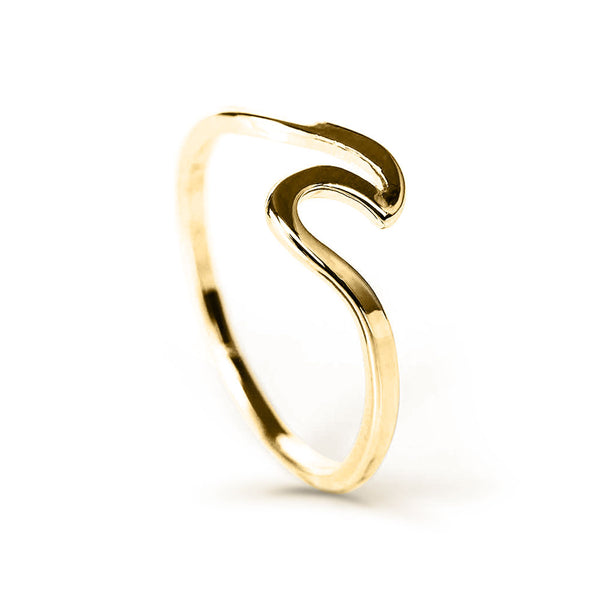side view of ocean wave ring in gold