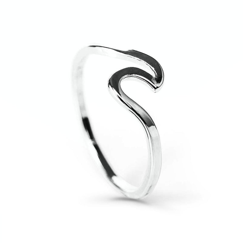 side view of ocean wave ring in silver