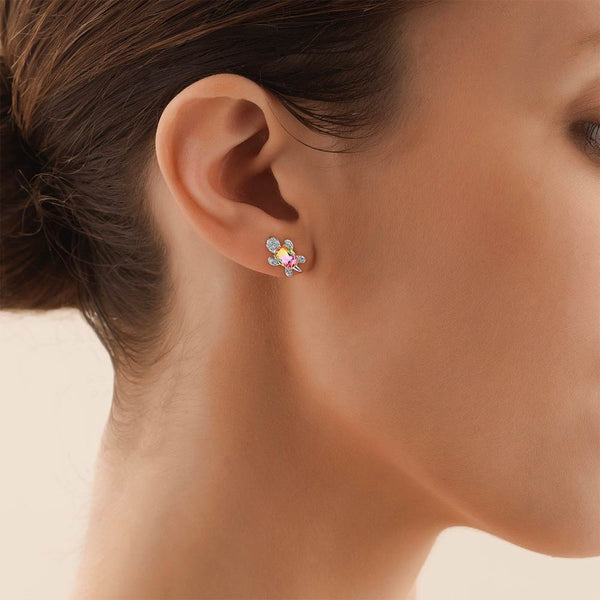 Profile of woman wearing a Pink & Yellow Crystal stud earring