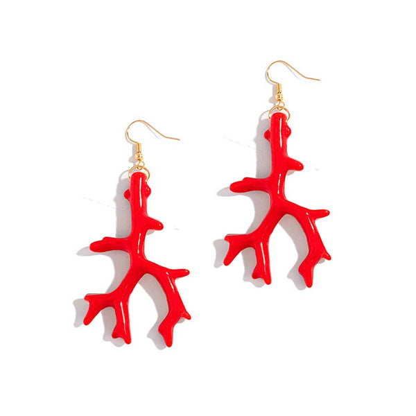 Pair of Red Coral Drop Earrings on white background
