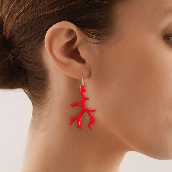 Model wearing a Red Coral Drop Earring