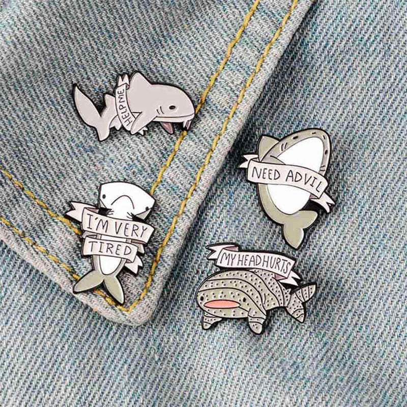 Set of Shark Pins on Denim Collar