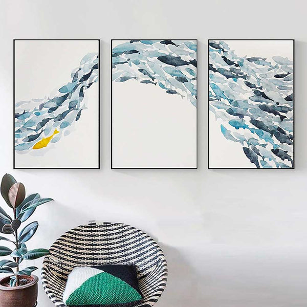 Sequence of three Schooling Fish Canvas Prints