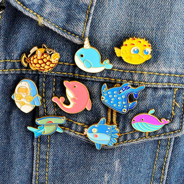 Colourful Enamel Marine Life Pins