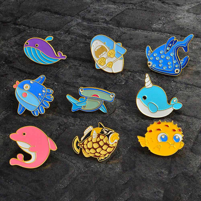 Cute sea creature pins
