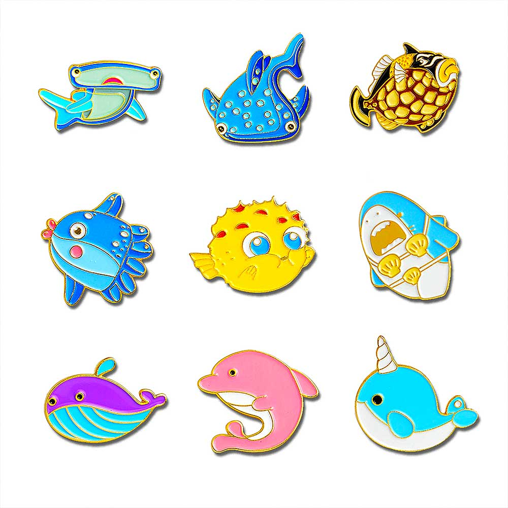 enamel brooch pins in 9 different ocean creatures