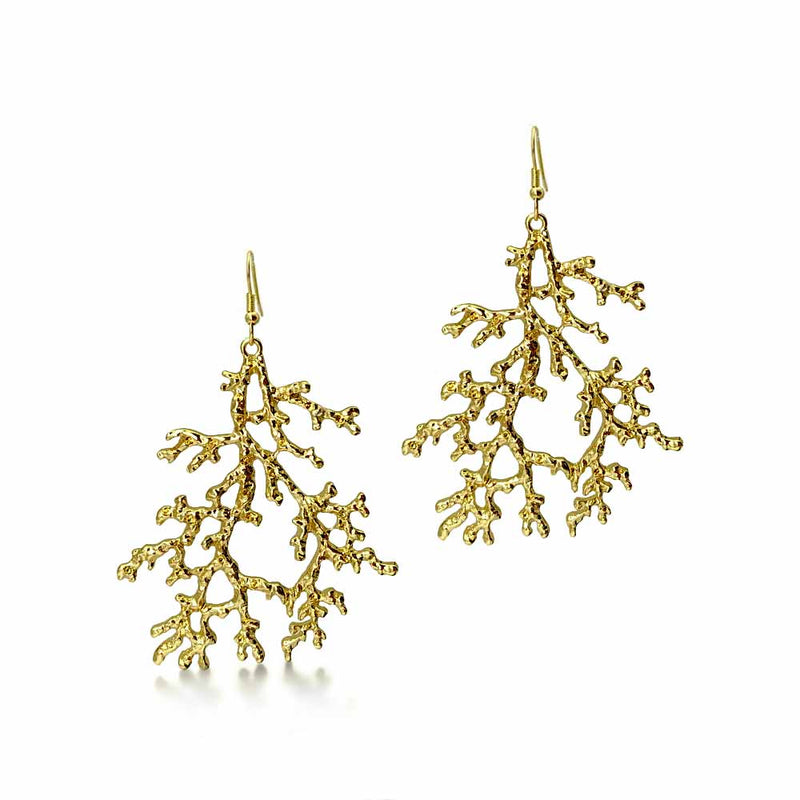 Pair of Sea Fan Gold Coral Earrings on white background