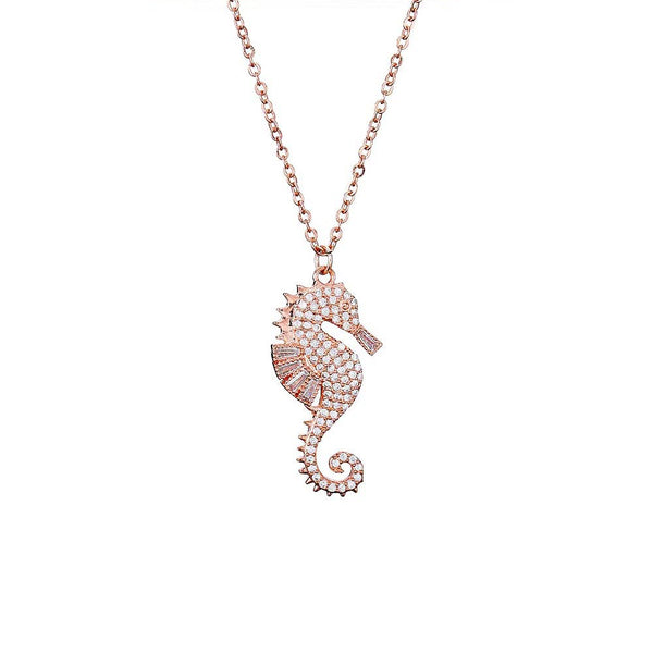 Sparkling Rose Gold Seahorse Necklace