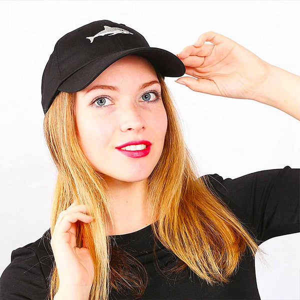 Woman wearing a Black Shark Baseball Cap
