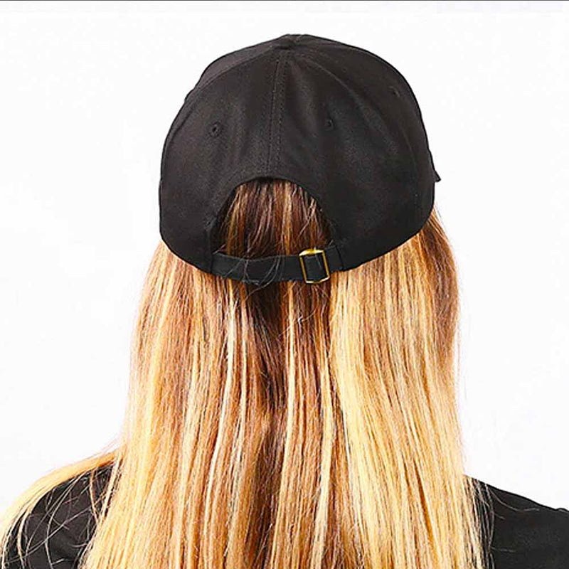 Back view of a Black baseball cap