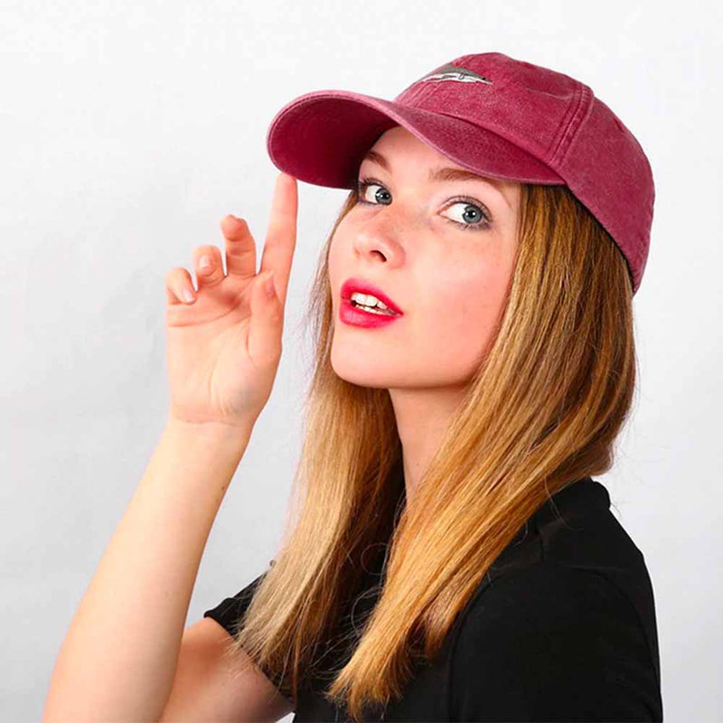 Woman wearing an embroidered Shark Baseball Cap