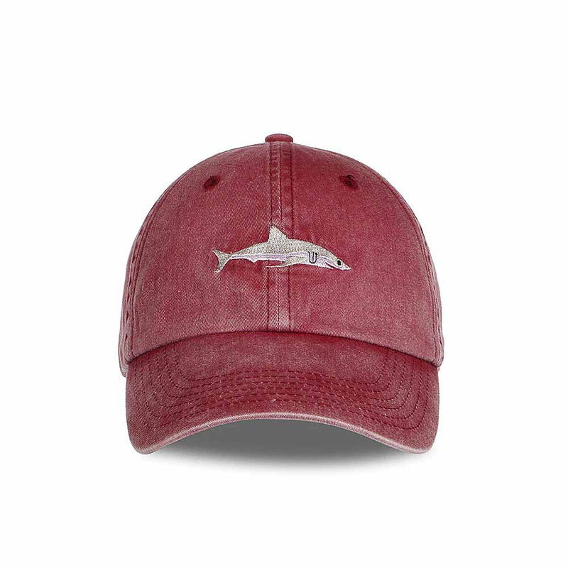 Front view of washed-out Red Shark Baseball Cap