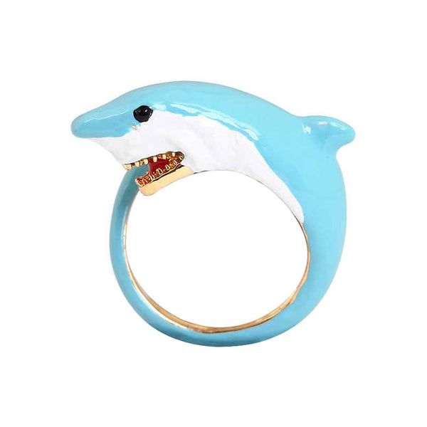 Blue Enamel Shark Ring