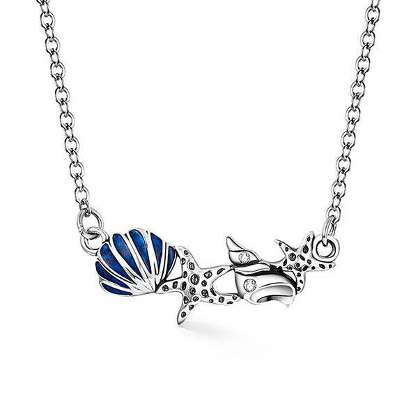 Pavé Shell & Starfish Pendant Necklace