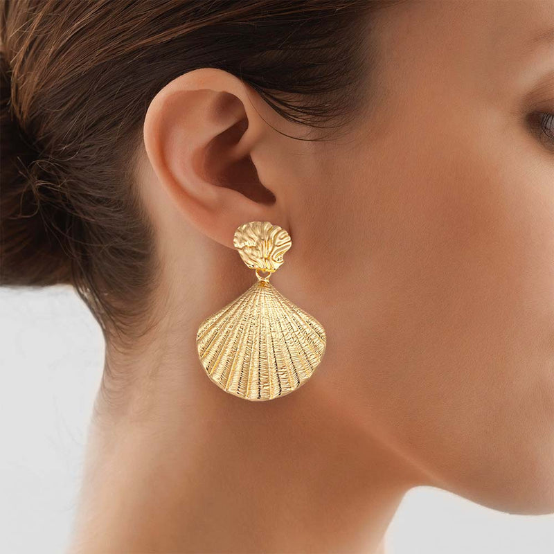 Large Gold Shell Earring on model