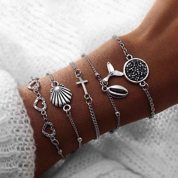 5 Piece Mermaid Tail and Shell Bracelet Set