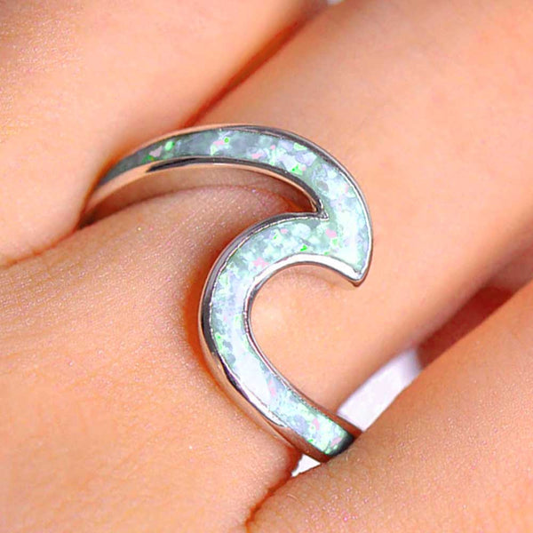 Silver-filled Wave Ring inset with White Opal Stone