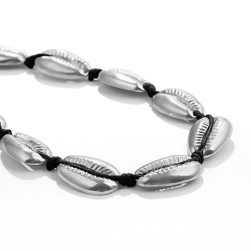 Close up image of Cowrie Shell Necklace in Silver with Black Cord