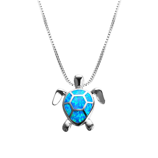 Silver Sea Turtle Necklace with Blue Opal
