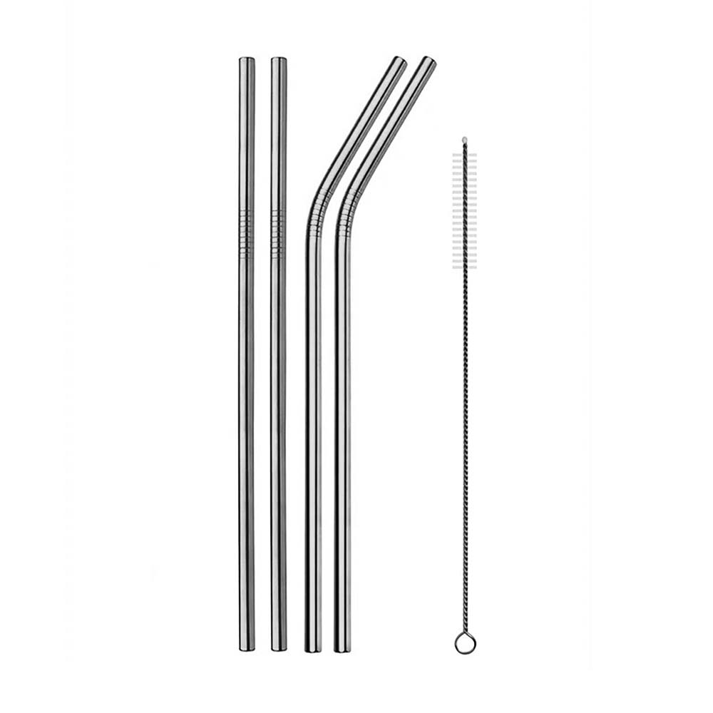 stainless steel metal straws in silver with straw cleaner