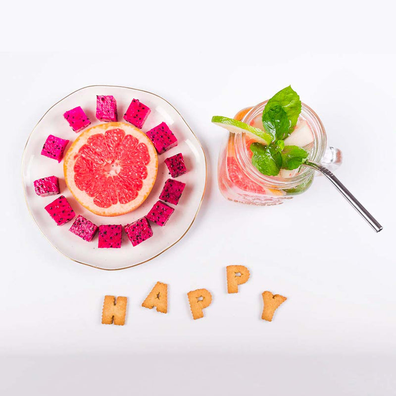 Happy Fruit Silver Metal Straw in Smoothie