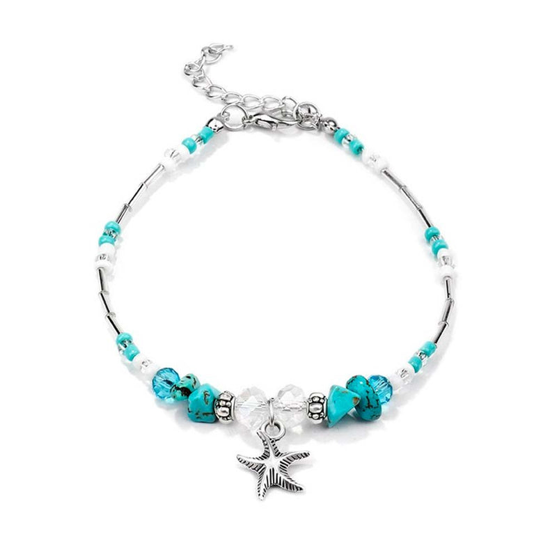 Silver Starfish Anklet with Turquoise Beads