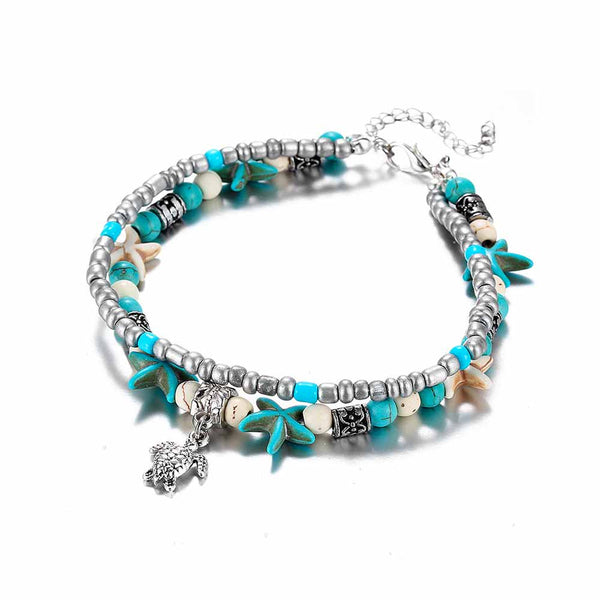 Layered Turtle and Starfish Anklet