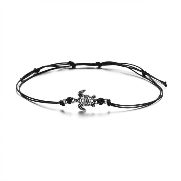 Silver Turtle Anklet on Black Cord