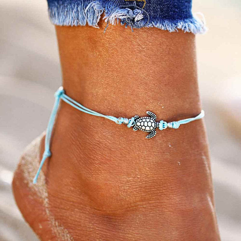 Small Blue Sea Turtle Anklet