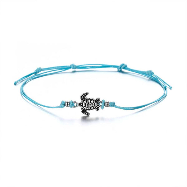 Silver Turtle Anklet on Blue Cord