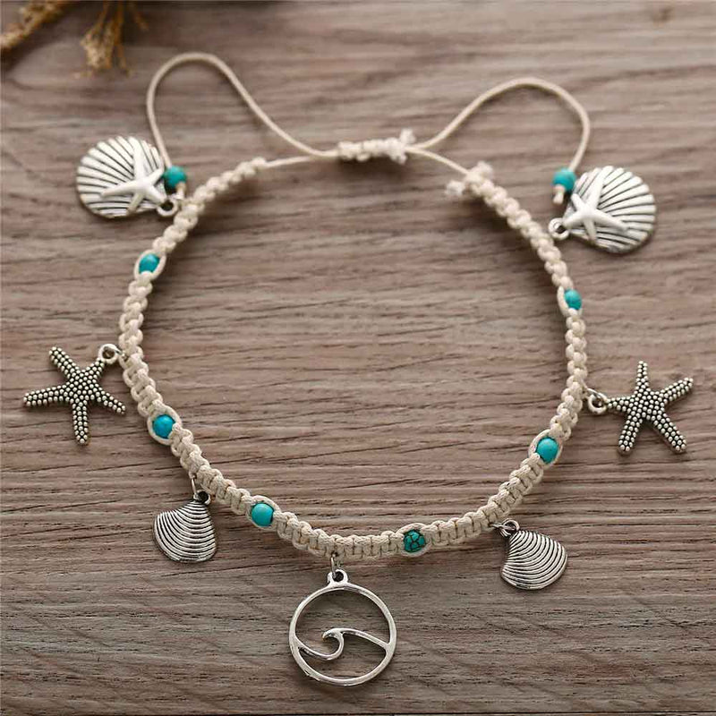 Cute charm anklet with shells and starfish