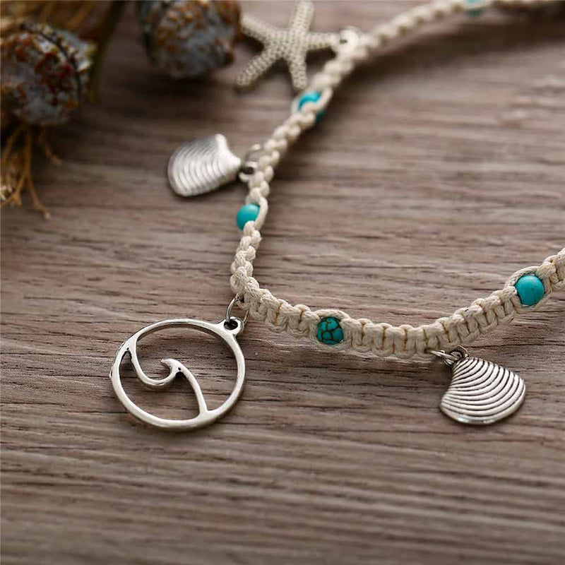 Ocean Wave Anklet with beach charms