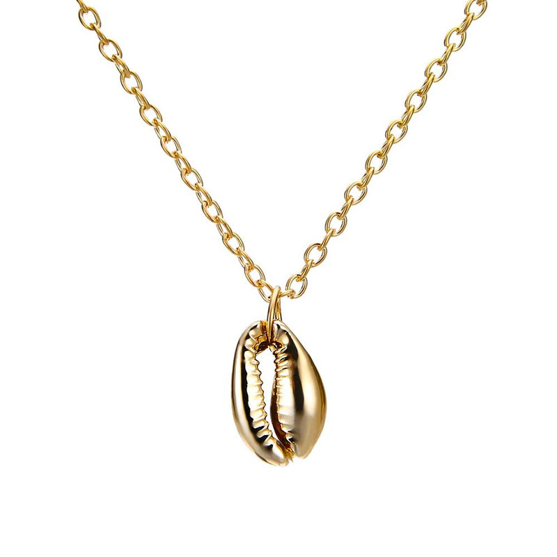 Single Gold Cowrie Shell Necklace