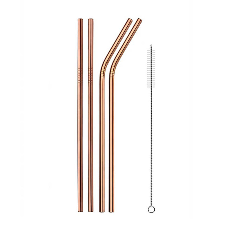 Set of 4 Metal Straws in Rose Gold Stainless Steel