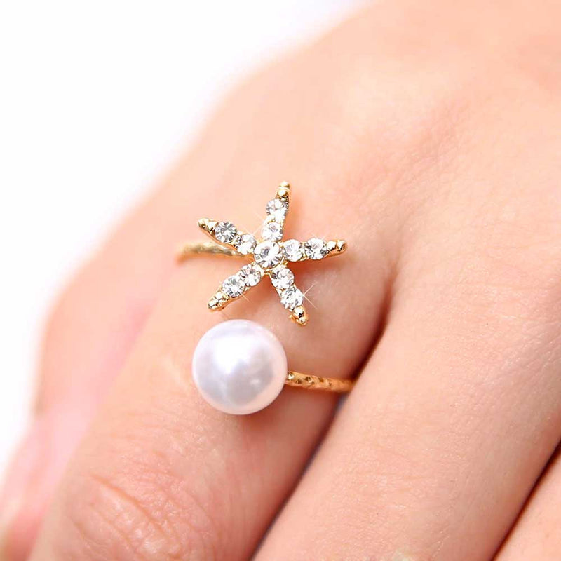 Starfish wrap ring with Pearl