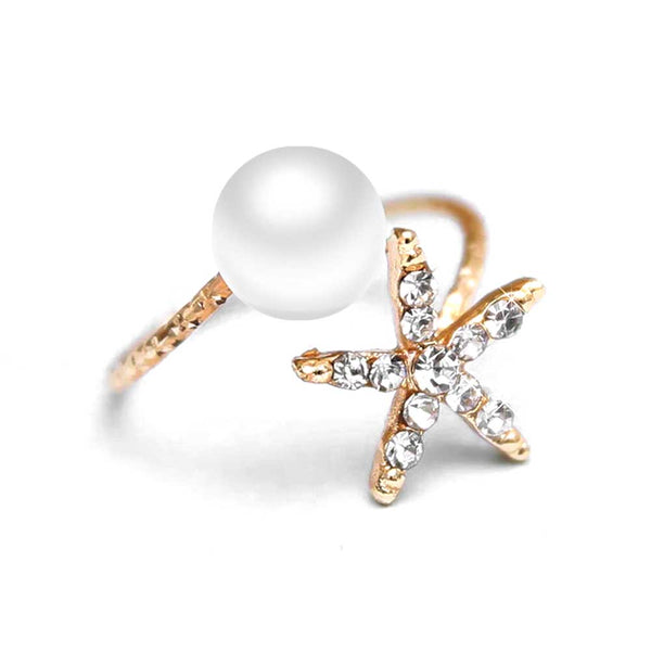 Pearl & Gold Starfish Ring