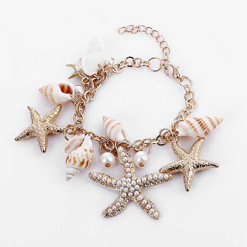 Pretty Starfish Bracelet with pearls and shell charms