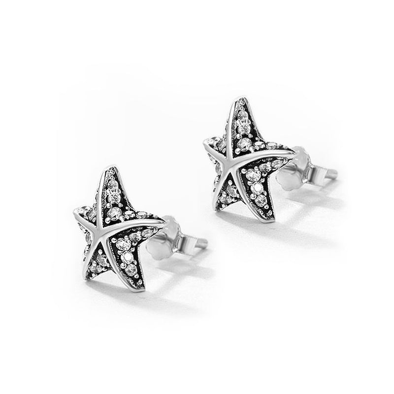 Silver and Cubic Zirconia Starfish Earring